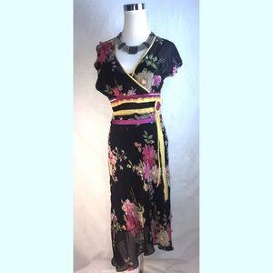 Sue Wong Silk Floral Embellished Belted Dress  6
